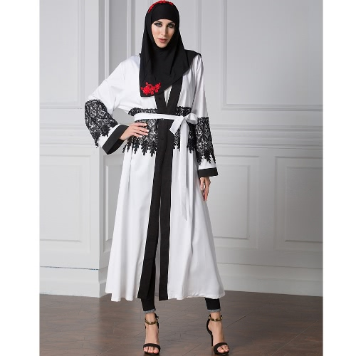 Casual Lace Robe Women Musulmane Turkish Abaya Muslim Dress Cardigan Robe Long Sleeve WhiteApparel &amp; Jewelry<br>Casual Lace Robe Women Musulmane Turkish Abaya Muslim Dress Cardigan Robe Long Sleeve White<br>