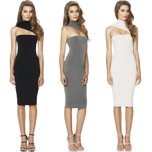 New Sexy Women Solid Midi Dress Cut Out Turtleneck Sleeveless Bodycon Nightclub Party Pencil DressApparel &amp; Jewelry<br>New Sexy Women Solid Midi Dress Cut Out Turtleneck Sleeveless Bodycon Nightclub Party Pencil Dress<br>
