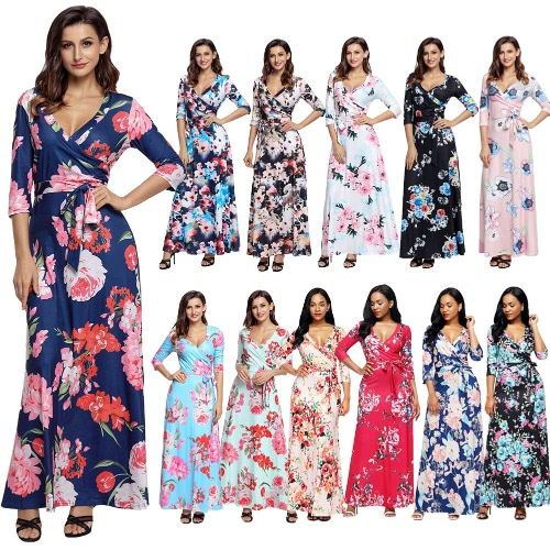 Sexy Women Maxi Dress Floral Print Deep V Neck Cropped Sleeve Slim Belted Long Boho DressApparel &amp; Jewelry<br>Sexy Women Maxi Dress Floral Print Deep V Neck Cropped Sleeve Slim Belted Long Boho Dress<br>