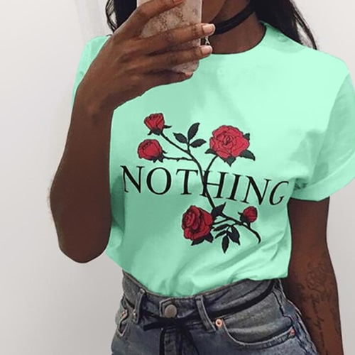 7 Colors Fashion Casual Style Rose Printed Letters Short Sleeve O-neck Womens T-shirts BreathableApparel &amp; Jewelry<br>7 Colors Fashion Casual Style Rose Printed Letters Short Sleeve O-neck Womens T-shirts Breathable<br>