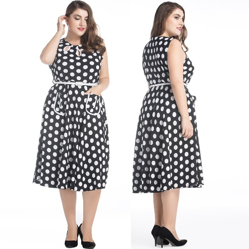 Women Retro Dress Plus Size Audrey Hepburn Polka Dot A-Line Big Large Size Casual Party Dress BlackApparel &amp; Jewelry<br>Women Retro Dress Plus Size Audrey Hepburn Polka Dot A-Line Big Large Size Casual Party Dress Black<br>