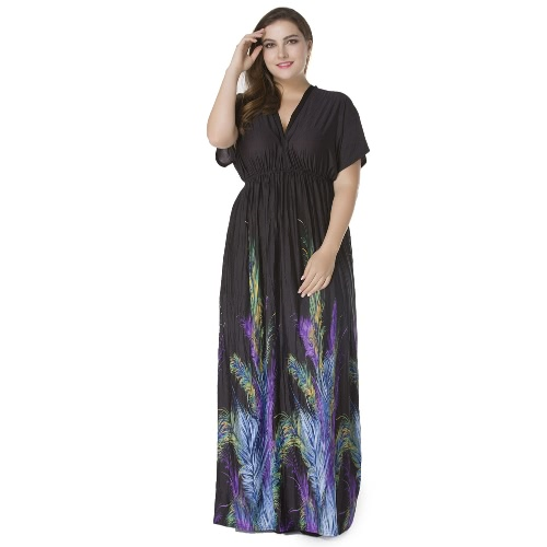 Sexy Women Plunge V Neck Print Plus Size Dress Ruched Big Size Maxi Party Dress BlackApparel &amp; Jewelry<br>Sexy Women Plunge V Neck Print Plus Size Dress Ruched Big Size Maxi Party Dress Black<br>
