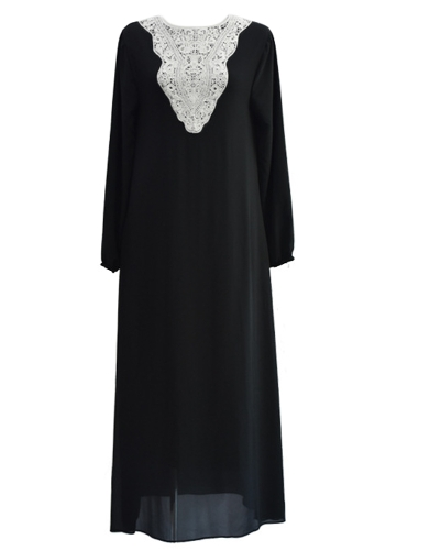 Muslim Women Plus Size Chiffon Maxi Dress Appliqu? Round Neck Long Sleeves Abaya Islamic Casual Robe Kaftan Turkish Long DressApparel &amp; Jewelry<br>Muslim Women Plus Size Chiffon Maxi Dress Appliqu? Round Neck Long Sleeves Abaya Islamic Casual Robe Kaftan Turkish Long Dress<br>
