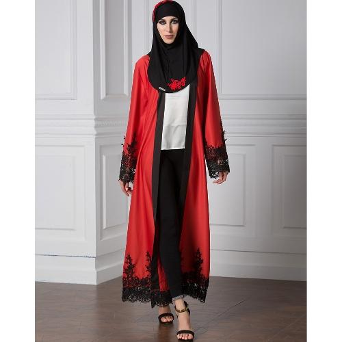 Women Muslim Cardigan Spliced Crochet Lace Hem Long Sleeve Islamic Abaya Maxi Dress Outwear Blue/Red