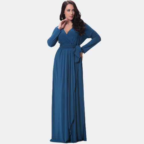 Sexy Women Dress Solid Deep V Drape Asymmetric Ruching High Waist Long Gown Maxi Evening Party One-Piece BlueApparel &amp; Jewelry<br>Sexy Women Dress Solid Deep V Drape Asymmetric Ruching High Waist Long Gown Maxi Evening Party One-Piece Blue<br>
