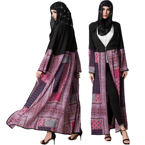 Vintage Boho Women Plus Size Muslim Cardigan Geometric Print Long Gown Islamic Abaya Maxi Robe Outwear Black