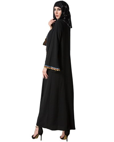 Vintage Women Arabia Middle East Long Muslim Trench Coat Plus Size Retro Spliced Long Sleeve Maxi Robe BlackApparel &amp; Jewelry<br>Vintage Women Arabia Middle East Long Muslim Trench Coat Plus Size Retro Spliced Long Sleeve Maxi Robe Black<br>