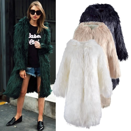 Women Faux Fur Jacket Solid Color Hooded Long Sleeve Fluffy Hairy Warm Winter Slim Long OuterwearApparel &amp; Jewelry<br>Women Faux Fur Jacket Solid Color Hooded Long Sleeve Fluffy Hairy Warm Winter Slim Long Outerwear<br>