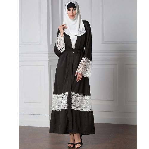 Fashion Women Muslim Lace Robes Long Sleeve Abaya Kaftan Islamic Arab Long Cardigan Belted Trench Coat BlackApparel &amp; Jewelry<br>Fashion Women Muslim Lace Robes Long Sleeve Abaya Kaftan Islamic Arab Long Cardigan Belted Trench Coat Black<br>