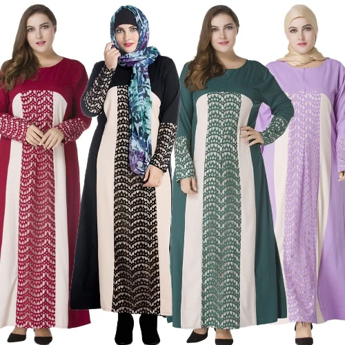 Women Muslim Lace Robe Long Sleeve Zipper Front Round Neck Long Loose Minddle Easy Abaya DressApparel &amp; Jewelry<br>Women Muslim Lace Robe Long Sleeve Zipper Front Round Neck Long Loose Minddle Easy Abaya Dress<br>