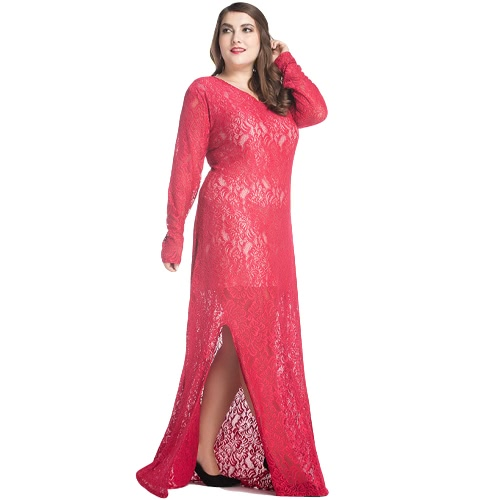 Women Plus Size Lace Maxi Dress V-Neck Full Sleeve Lined Evening Party Solid Long DressApparel &amp; Jewelry<br>Women Plus Size Lace Maxi Dress V-Neck Full Sleeve Lined Evening Party Solid Long Dress<br>