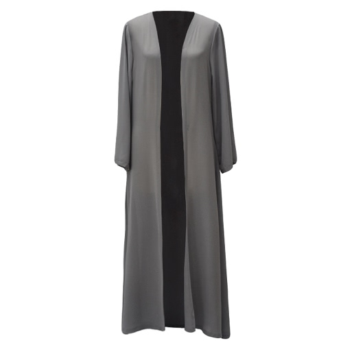 Women Chiffon Muslim Abaya Cardigan Long Sleeve Open Front Robe Belted Kaftan Islamic Arab Maxi Dress Grey/YellowApparel &amp; Jewelry<br>Women Chiffon Muslim Abaya Cardigan Long Sleeve Open Front Robe Belted Kaftan Islamic Arab Maxi Dress Grey/Yellow<br>