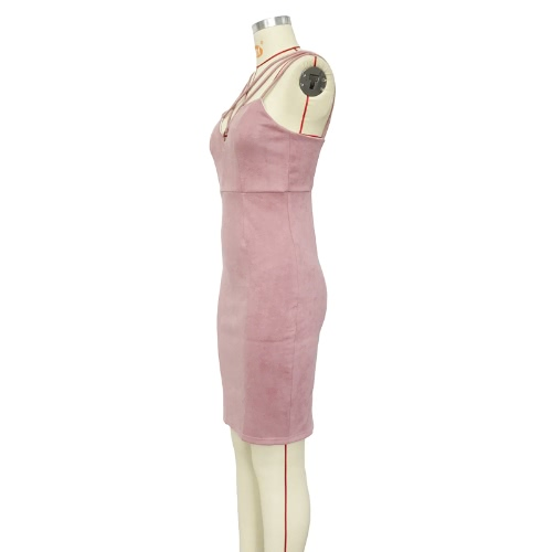 Sexy Women Strappy Dress Faux Swede Zipper Back Slit Detail Sleeveless Bandage Bodycon Dress PinkApparel &amp; Jewelry<br>Sexy Women Strappy Dress Faux Swede Zipper Back Slit Detail Sleeveless Bandage Bodycon Dress Pink<br>