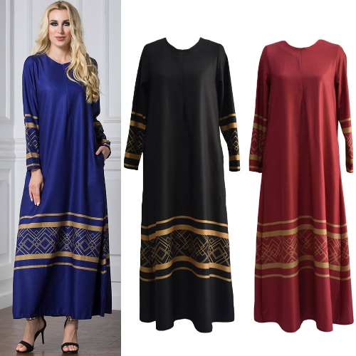 Women Muslim Plus Size Maxi Long Dress Geometric Print Long Sleeve Pocket Zipper Islamic Abaya DressApparel &amp; Jewelry<br>Women Muslim Plus Size Maxi Long Dress Geometric Print Long Sleeve Pocket Zipper Islamic Abaya Dress<br>