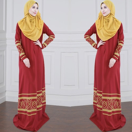 Women Muslim Plus Size Maxi Long Dress Geometric Print Long Sleeve Pocket Zipper Islamic Abaya Dress