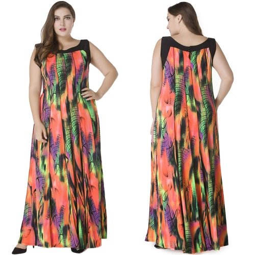 Women Plus Size Bohemian Long Dress Sleeveless Print Casual Loose Pleated Maxi Dress Sundress OrangeApparel &amp; Jewelry<br>Women Plus Size Bohemian Long Dress Sleeveless Print Casual Loose Pleated Maxi Dress Sundress Orange<br>