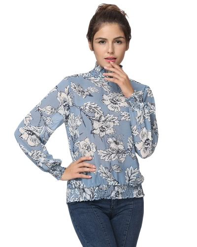 New Autumn Women Chiffon Blouse Floral Print Elastic Band Long Sleeves Casual Elegant Top BlueApparel &amp; Jewelry<br>New Autumn Women Chiffon Blouse Floral Print Elastic Band Long Sleeves Casual Elegant Top Blue<br>