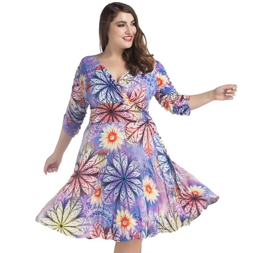 New Summer Women Sexy V Neck Floral Print Midi Dress Ruched Half Sleeve Pleated Dress PurpleApparel &amp; Jewelry<br>New Summer Women Sexy V Neck Floral Print Midi Dress Ruched Half Sleeve Pleated Dress Purple<br>
