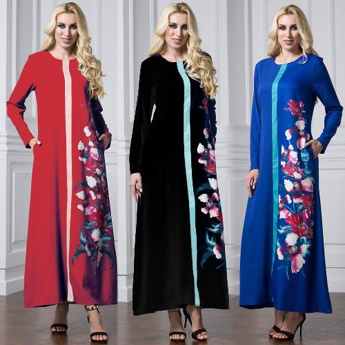 Fashion Women Kaftan Abaya Jibab Islamic Musilim Floral Long Sleeve Maxi Dress O Neck Pocket DressApparel &amp; Jewelry<br>Fashion Women Kaftan Abaya Jibab Islamic Musilim Floral Long Sleeve Maxi Dress O Neck Pocket Dress<br>