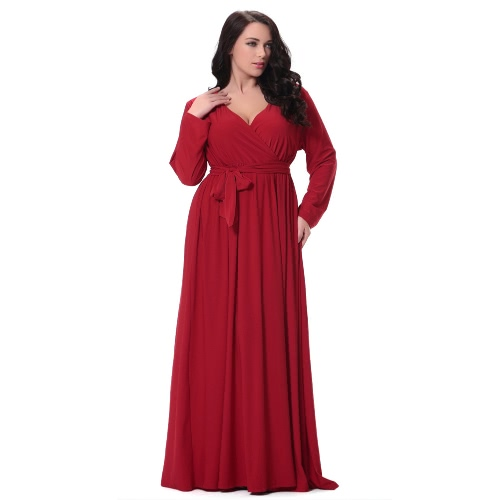 Women Plus Size Maxi Dress Sexy V Neck Long Sleeve Solid Belted Cocktail Party Dress Swing Long Dress RedApparel &amp; Jewelry<br>Women Plus Size Maxi Dress Sexy V Neck Long Sleeve Solid Belted Cocktail Party Dress Swing Long Dress Red<br>