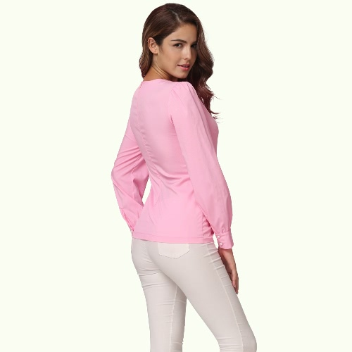 Women Ruffles Pocket Blouse Long Sleeves Puff O Neck Back Zipper Fitted Elegant Casual Shirt Tops PinkApparel &amp; Jewelry<br>Women Ruffles Pocket Blouse Long Sleeves Puff O Neck Back Zipper Fitted Elegant Casual Shirt Tops Pink<br>