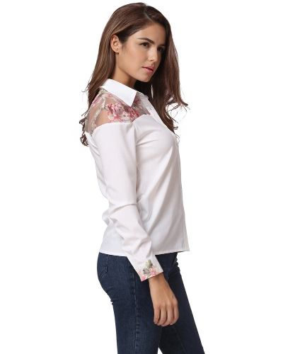 Women Button Down Blouse Floral Mesh Long Sleeves Turn Down Collar Elegant Casual Shirt Tops WhiteApparel &amp; Jewelry<br>Women Button Down Blouse Floral Mesh Long Sleeves Turn Down Collar Elegant Casual Shirt Tops White<br>