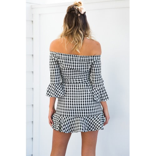 New Sexy Women Off Shoulder Dress Checked Plaid Ruffles Flared Sleeve Slim Belted Mini Dress BlackApparel &amp; Jewelry<br>New Sexy Women Off Shoulder Dress Checked Plaid Ruffles Flared Sleeve Slim Belted Mini Dress Black<br>