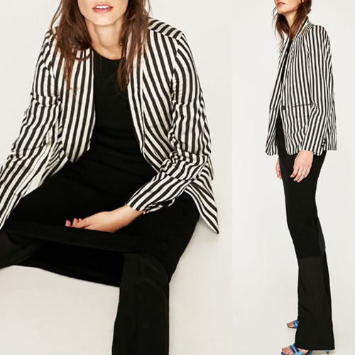 New Women Coat Contrast Stripes Pockets Long Sleeves Elegant Outwear Jacket Black&amp;WhiteApparel &amp; Jewelry<br>New Women Coat Contrast Stripes Pockets Long Sleeves Elegant Outwear Jacket Black&amp;White<br>
