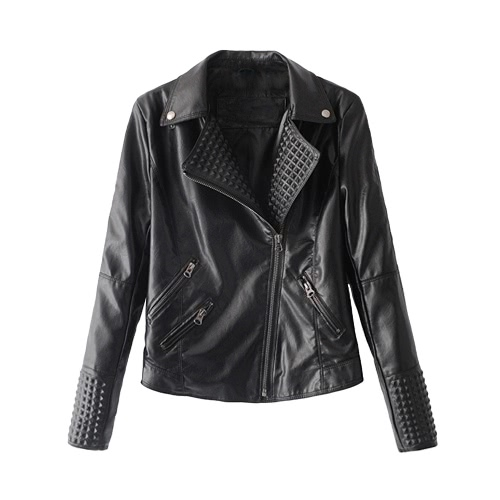 Fashion Women Autumn PU Leather Jacket Rivet Motorcycle Biker Zip Coat Faux Leather Street Jaqueta OuterwearApparel &amp; Jewelry<br>Fashion Women Autumn PU Leather Jacket Rivet Motorcycle Biker Zip Coat Faux Leather Street Jaqueta Outerwear<br>