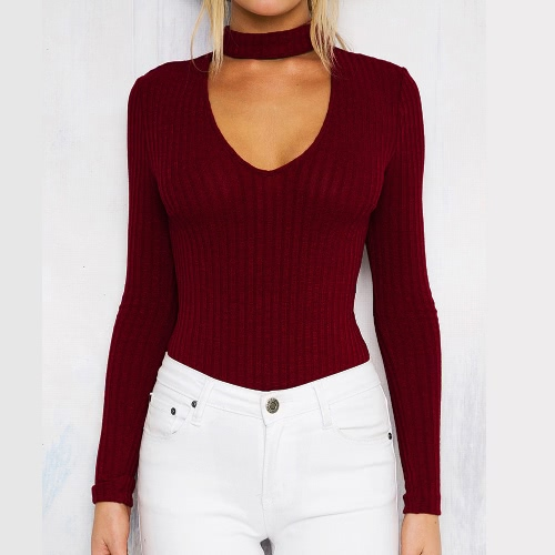 Sexy Women Jumpsuit Ribbed Solid Color V-Neck Long Sleeves Zipper Beach Bodysuit RompersApparel &amp; Jewelry<br>Sexy Women Jumpsuit Ribbed Solid Color V-Neck Long Sleeves Zipper Beach Bodysuit Rompers<br>