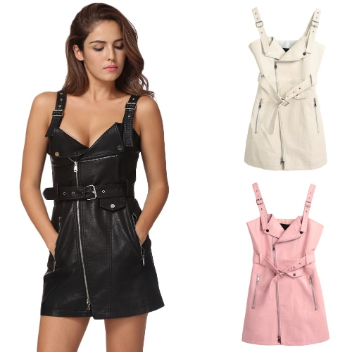 Sexy Women Mini PU Leather Dress Strappy Backless Sleeveless Belt Zipper Elegant Club Party DressApparel &amp; Jewelry<br>Sexy Women Mini PU Leather Dress Strappy Backless Sleeveless Belt Zipper Elegant Club Party Dress<br>