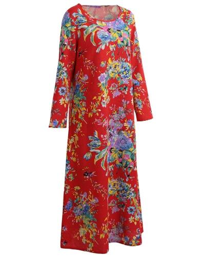 Vintage Women Maxi Floral Dress Long Sleeves Pockets O Neck Plus Size Cotton Linen Loose Robe DressApparel &amp; Jewelry<br>Vintage Women Maxi Floral Dress Long Sleeves Pockets O Neck Plus Size Cotton Linen Loose Robe Dress<br>