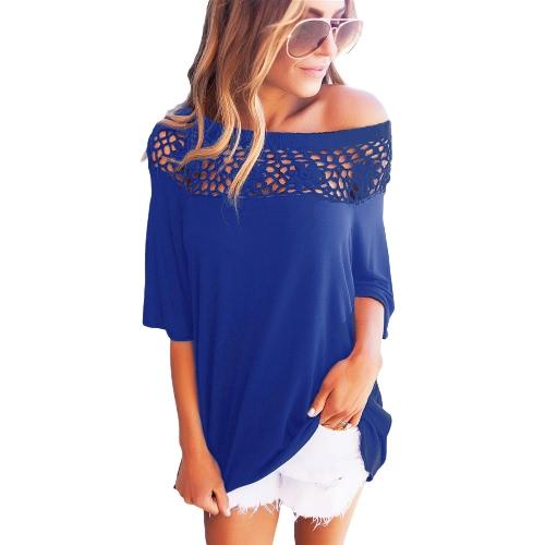 T-Shirt Women Summer Casual Crochet Splicing Hollow Out One Shoulder Top Tee ShirtApparel &amp; Jewelry<br>T-Shirt Women Summer Casual Crochet Splicing Hollow Out One Shoulder Top Tee Shirt<br>