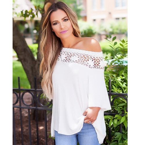 T-Shirt Women Summer Casual Crochet Splicing Hollow Out One Shoulder Top Tee ShirtApparel &amp; Jewelry<br>T-Shirt Women Summer Casual Crochet Splicing Hollow Out One Shoulder Top Tee Shirt<br>