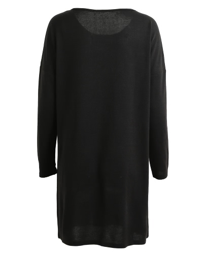 Vintage Women Knitted Straight Dress Solid Dropped Long Batwing Sleeve Round Neck Mini Loose One-PieceApparel &amp; Jewelry<br>Vintage Women Knitted Straight Dress Solid Dropped Long Batwing Sleeve Round Neck Mini Loose One-Piece<br>