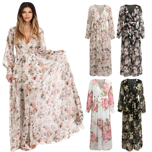 Sexy Women Chiffon Maxi Dress Floral Print Deep V Neck Long Sleeve Slim Belted Elegant Boho Long DressApparel &amp; Jewelry<br>Sexy Women Chiffon Maxi Dress Floral Print Deep V Neck Long Sleeve Slim Belted Elegant Boho Long Dress<br>