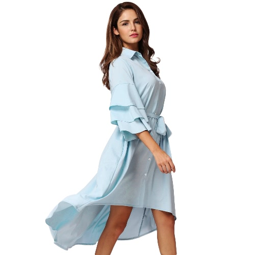 New Fashion Women Layered Ruffle Sleeve Irregular Shirt Dress Asymmetric Hem Solid Relaxed Dress Light BlueApparel &amp; Jewelry<br>New Fashion Women Layered Ruffle Sleeve Irregular Shirt Dress Asymmetric Hem Solid Relaxed Dress Light Blue<br>