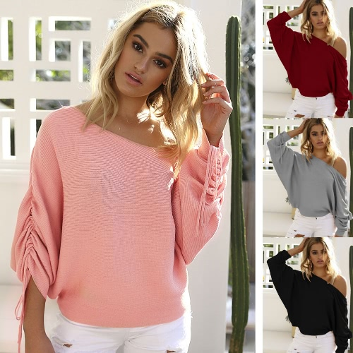 New Women Knitted Sweater Off Shoulder Pullover Jumper Drawstring Long Sleeve Casual Loose Knitwear TopsApparel &amp; Jewelry<br>New Women Knitted Sweater Off Shoulder Pullover Jumper Drawstring Long Sleeve Casual Loose Knitwear Tops<br>