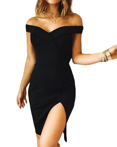 New Women Bodycon Dress Off Shoulder Sexy Split Solid Elegant Party Clubwear Mini DressApparel &amp; Jewelry<br>New Women Bodycon Dress Off Shoulder Sexy Split Solid Elegant Party Clubwear Mini Dress<br>