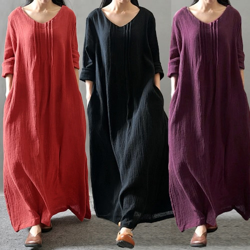 Autumn Women Casual Loose Dress Solid V Neck Long Sleeve Cotton Retro Boho Long Maxi Dress Black/Purple/RedApparel &amp; Jewelry<br>Autumn Women Casual Loose Dress Solid V Neck Long Sleeve Cotton Retro Boho Long Maxi Dress Black/Purple/Red<br>