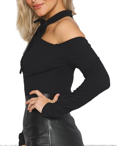 Sexy Women Jumpsuit Cut Out Shoulder Lace Up Long Sleeves Zipper Solid Color Casual Short RomperApparel &amp; Jewelry<br>Sexy Women Jumpsuit Cut Out Shoulder Lace Up Long Sleeves Zipper Solid Color Casual Short Romper<br>