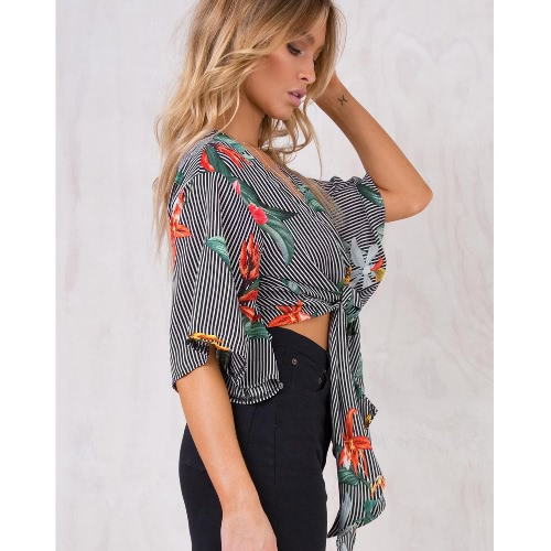 Women Cropped Tie Front Kimono Top Striped Floral Flared Half Sleeves Deep V Neck Casual Tops BlouseApparel &amp; Jewelry<br>Women Cropped Tie Front Kimono Top Striped Floral Flared Half Sleeves Deep V Neck Casual Tops Blouse<br>