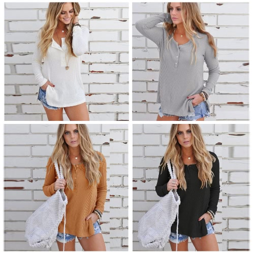 New Fashion Autumn Knitted Sweater Button Up Side Split Round Neck Long Sleeves Knitwear PulloverApparel &amp; Jewelry<br>New Fashion Autumn Knitted Sweater Button Up Side Split Round Neck Long Sleeves Knitwear Pullover<br>