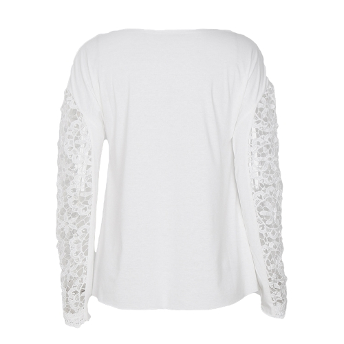 Women T-shirt Floral Crochet Lace Splicing Dropped Shoulders Hollow Out Long Sleeve Casual TopsApparel &amp; Jewelry<br>Women T-shirt Floral Crochet Lace Splicing Dropped Shoulders Hollow Out Long Sleeve Casual Tops<br>