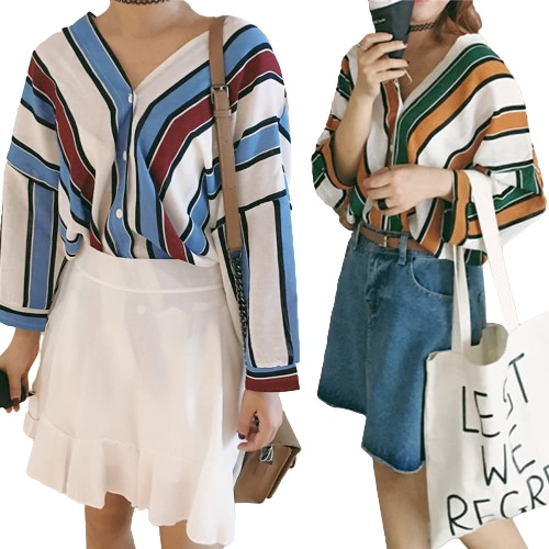 Fashion Women Loose Shirts Contrast Color Striped V Neck Batwing Sleeve Casual Blouse Tops Blue/GreenApparel &amp; Jewelry<br>Fashion Women Loose Shirts Contrast Color Striped V Neck Batwing Sleeve Casual Blouse Tops Blue/Green<br>