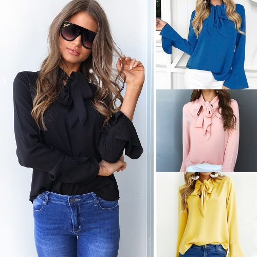 Fashion Women Casual Shirt Blouse V Neck Flare Long Sleeve Bandage Tie Solid Elegant Loose TopsApparel &amp; Jewelry<br>Fashion Women Casual Shirt Blouse V Neck Flare Long Sleeve Bandage Tie Solid Elegant Loose Tops<br>