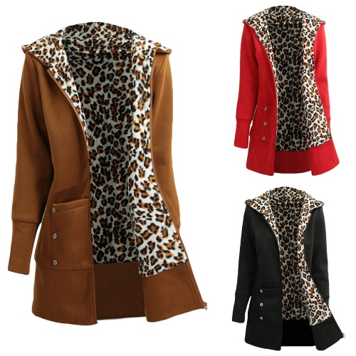 Winter Women Hoodies Coat Leopard Fleece Lining Zipper Warm Casual Hooded OuterwearApparel &amp; Jewelry<br>Winter Women Hoodies Coat Leopard Fleece Lining Zipper Warm Casual Hooded Outerwear<br>