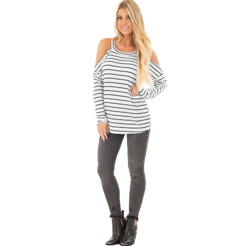 New Fashion Women Stripe T-shirt Sexy Off Shoulder O Neck Long Sleeve Vintage Tops Blouse WhiteApparel &amp; Jewelry<br>New Fashion Women Stripe T-shirt Sexy Off Shoulder O Neck Long Sleeve Vintage Tops Blouse White<br>