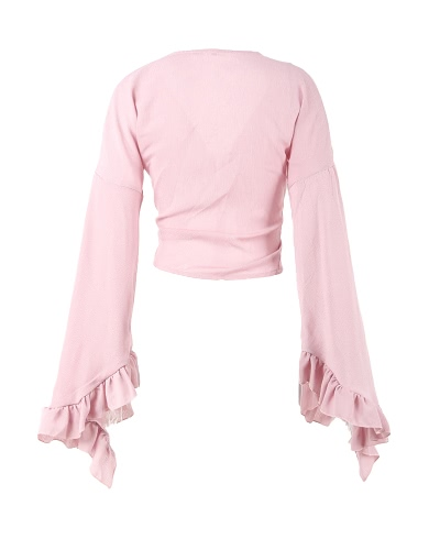 Sexy Women Crop Top Solid Plunging V  Neck Tie Bow Long Flare Sleeve Ruffle Petal Short BlouseApparel &amp; Jewelry<br>Sexy Women Crop Top Solid Plunging V  Neck Tie Bow Long Flare Sleeve Ruffle Petal Short Blouse<br>