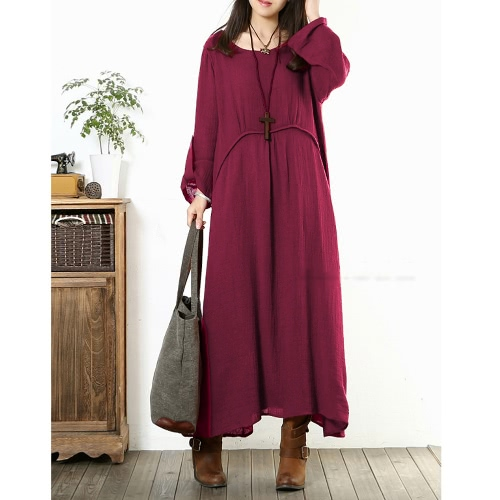 Vintage Women Plus Size Loose Dress Solid Roll Up 3/4 Sleeves O-Neck Casual Maxi Dresses Dark Blue/BurgundyApparel &amp; Jewelry<br>Vintage Women Plus Size Loose Dress Solid Roll Up 3/4 Sleeves O-Neck Casual Maxi Dresses Dark Blue/Burgundy<br>